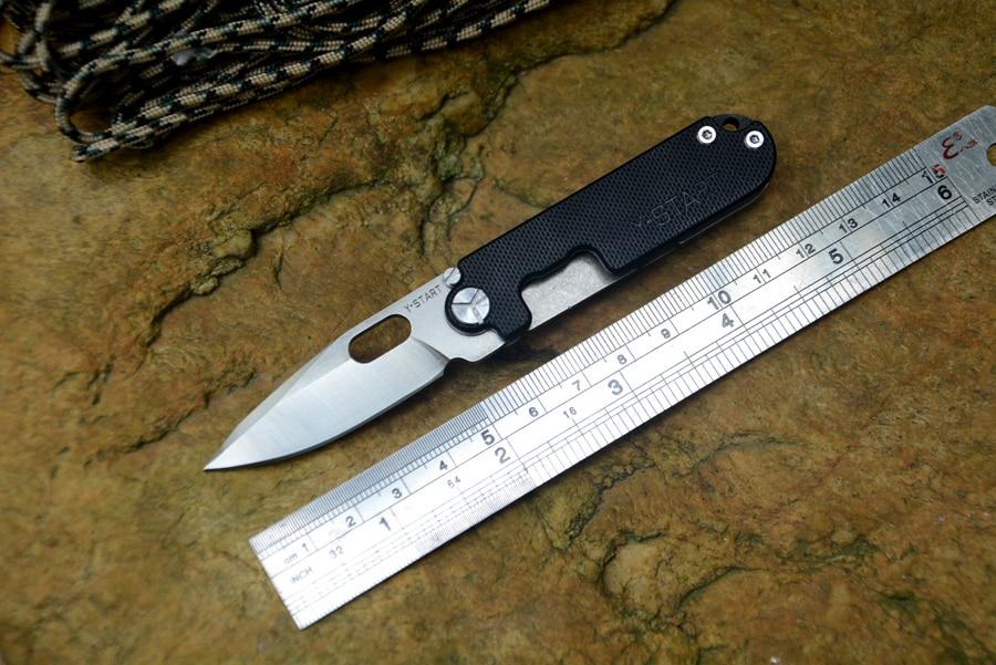 Y START pocket knife 440C Satin blade flipper folding knife TC4 handle outdoor camping knife free