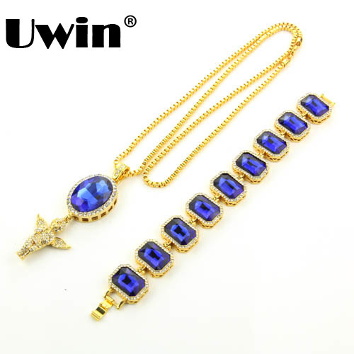 Iced Out Rhinestone Chain With Bling Angel Pendant High Quality Gold Color Box Chain Necklace And Bracelet Set for Men rhinestone pendant chain necklace