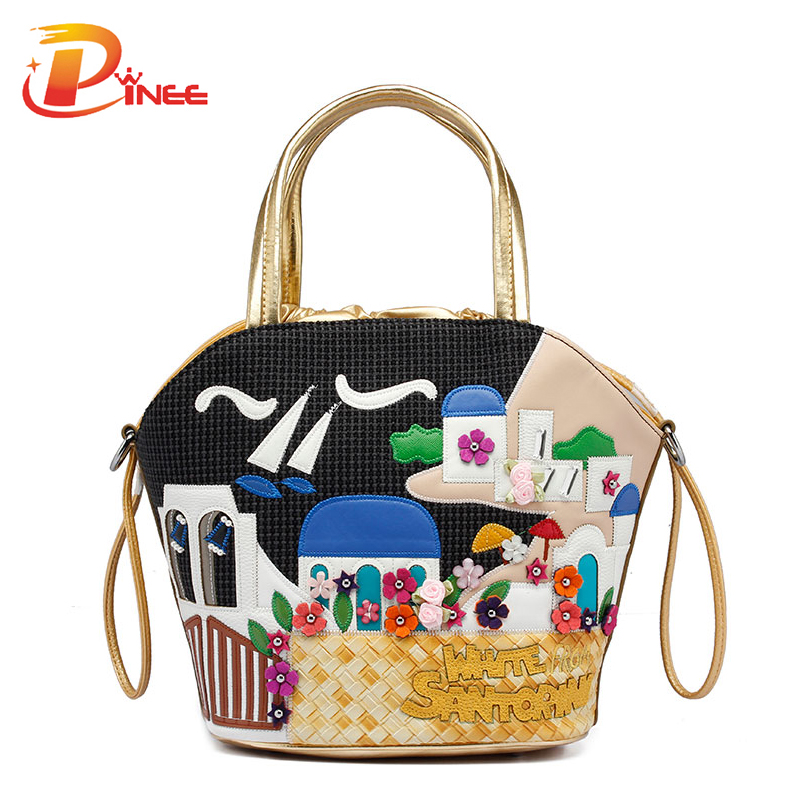 ФОТО 2017 Women Shoulder Bag Italy Braccialini Handbag Style Retro Handmade Bolsa Feminina For Ladies Candy Bolsos Bucket Bags