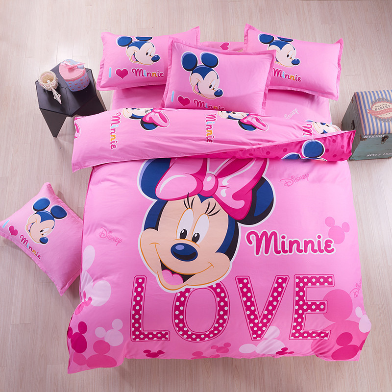 4/3 pieces Mickey Minni Mouse Hello Kitty Cartoon kids Children Pillow Cases Bed Linen Duvet Cover Beddings Set