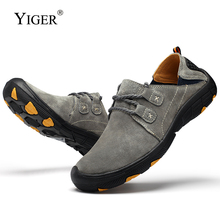 YIGER New Men Casual shoes 2019 Spring genuine leather Man loafers Lace-up leisure male outdoor sports Non-slip 0246