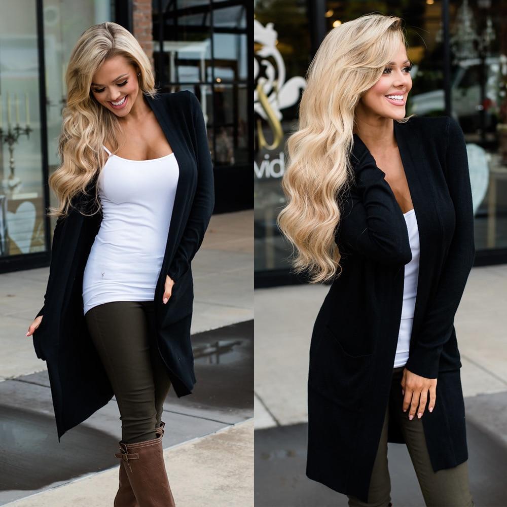 קרדיגן נשים ארוך שרוול חדש נשי אלגנטי כיס סרוג הלבשה עליונה סוודר באיכות גבוהה