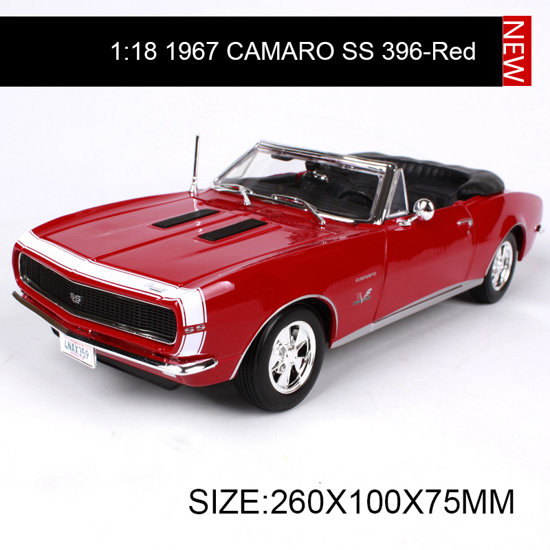 1:18 diecast Car Chevy 1967 CAMARO SS 396 Roadster Muscle Cars 1:18 Alloy Car Metal Vehicle Collectible Models toys For Gift maisto jeep wrangler rubicon fire engine 1 18 scale alloy model metal diecast car toys high quality collection kids toys gift