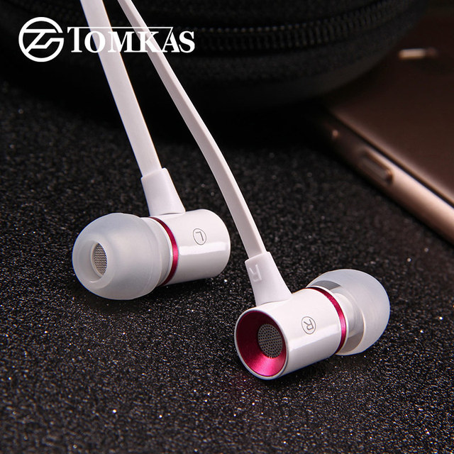 TOMKAS Wired Earphone for iPhone Samsung Xiaomi Phone In-Ear Stereo Sound Noise Canceling with Microphone Sport Earphones Case