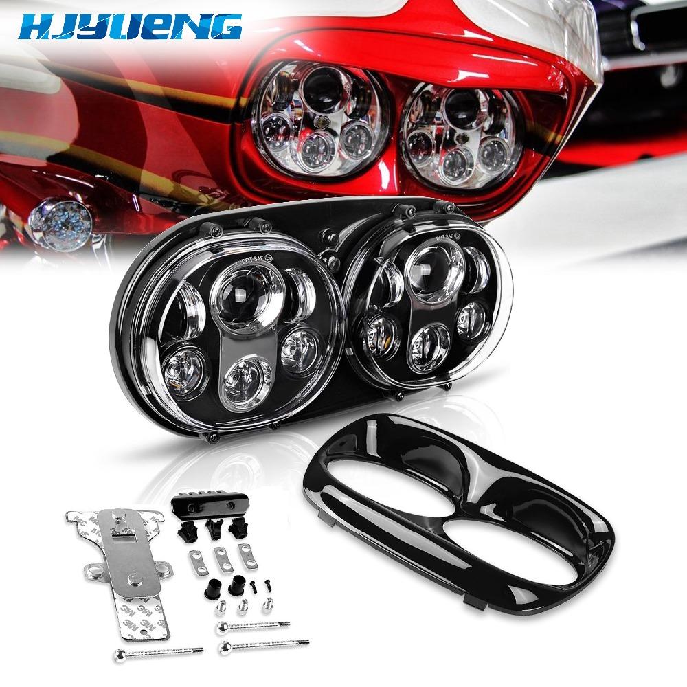 HJYUENG 90w 5.75 inch Motorcycle Led Headlight 5.75 Dual Daymaker Projector Headlamp For 2004 2013 Harley Davidson Road Glide