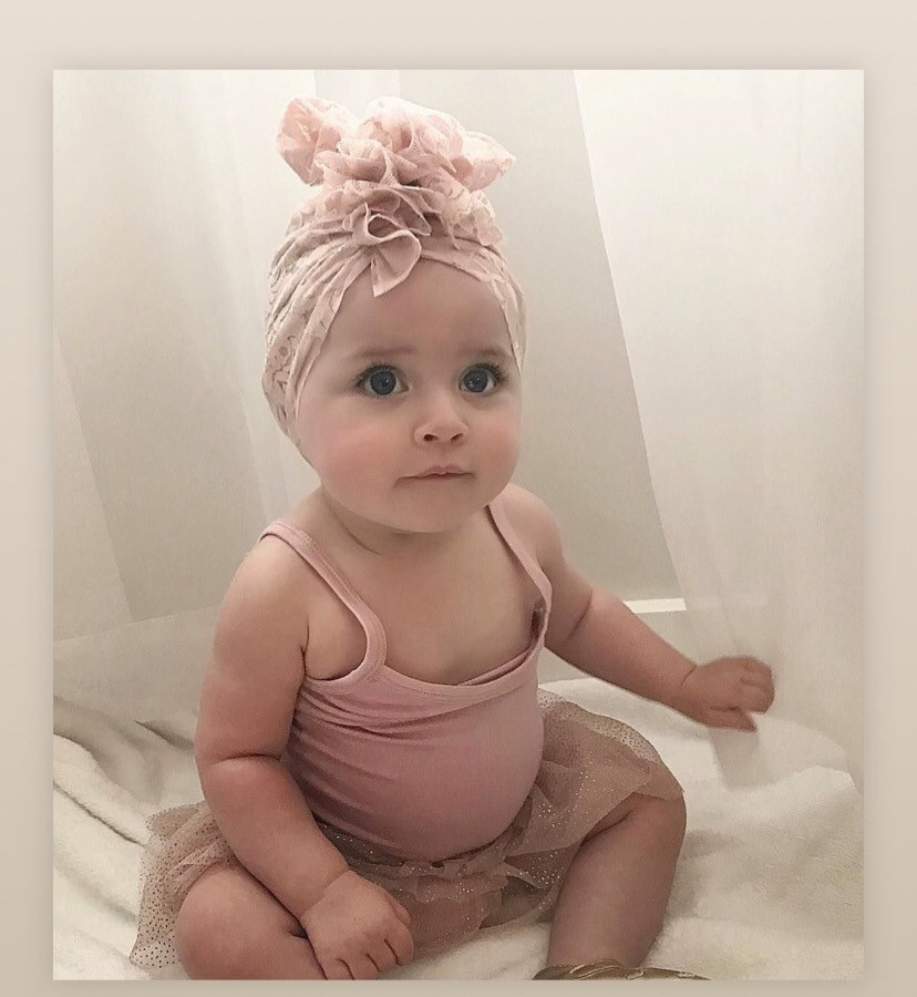 Girls Hair Accessories Bowknot Lace Hat Baby Turban Cap Spring And Summer Baby Beanies