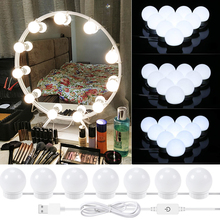 1 Kit Hollywood DIY Vanity Lights Strip with Dimmable Light Bulbs LED Bath Makeup Mirror Light for Lighted Dressing Table Mirror dimmable hollywood makeup vanity mirror with light large lighted tabletop cosmetic mirror with 9pcs touch control led bulbs