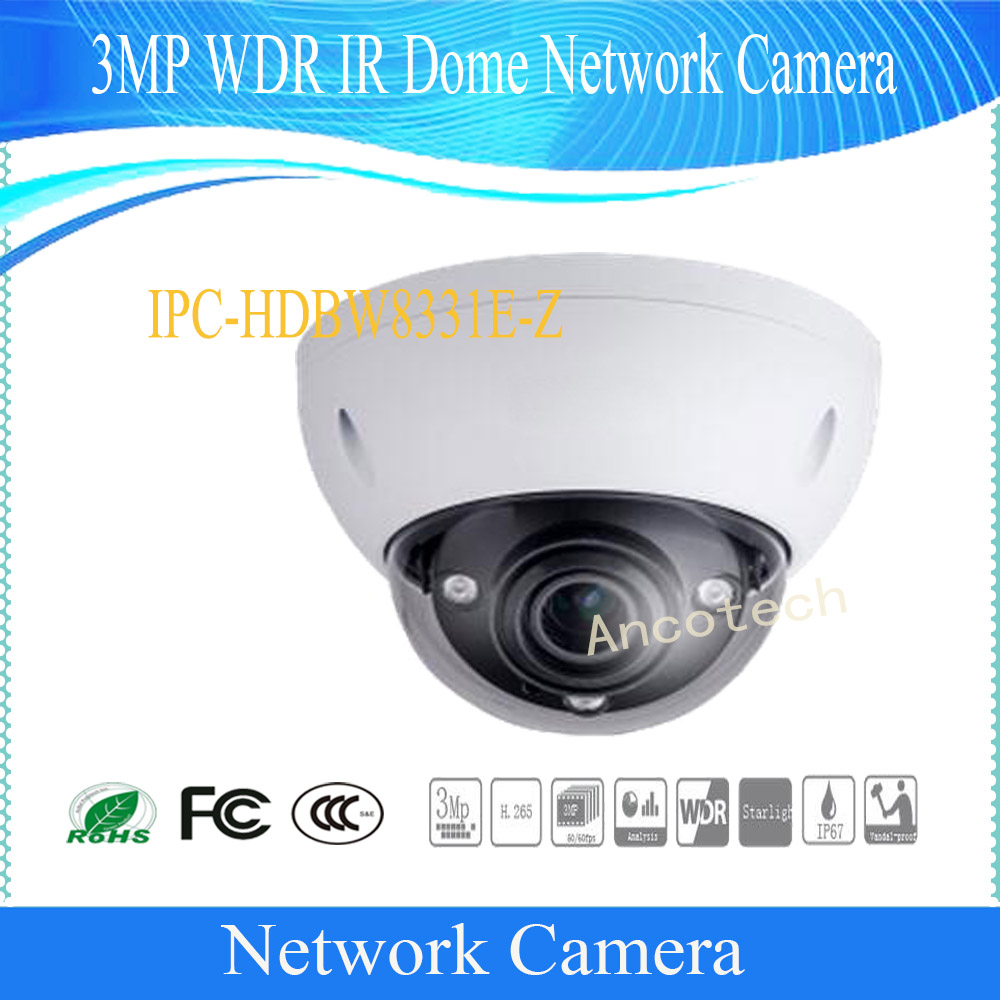 Free Shipping DAHUA 3MP HD Ultra WDR Network Vandal-proof IR Dome Camera IP67 with POE without Logo IPC-HDBW8331E-Z free shipping dahua cctv camera 4k 8mp wdr ir mini bullet network camera ip67 with poe without logo ipc hfw4831e se
