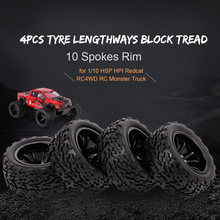 4 STUKS RC Car 1:10 RC Off-road Band Lengte Blok Loopvlak Patroon 10 Spaken Velg voor 1:10 HSP HPI Redcat RC4WD RC Monster Cars(China)