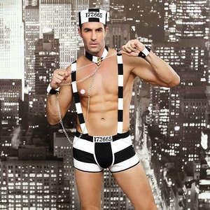Image 1 - JSY メンズロールプレイ衣装ホットエロセクシーな囚人コスプレファンシーセクシーな男性ハロウィン衣装囚人制服 6615