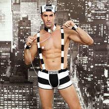 JSY Mens Giochi di ruolo Costumi Outfit Hot Erotic Sexy Prigioniero Operato da Cosplay Sexy Gli Uomini di Halloween Costume Prigioniero Uniformi 6615
