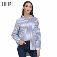 FATIKA 2017 Womens Tops And Blouses Striped Turn Down Collar Casual Striped Full Sleeve Fashion Shirts