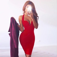 цена Hot Red V Neck Club Bandage Dress  Halter Backless Bodycon Sexy Bodycon Dresses 2019 New в интернет-магазинах