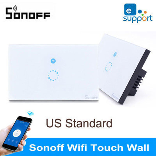Sonoff US Standard Wireless Remote Control Light Switches,Glass Panel Smart Touch Switch,Wall Light Remote Switch For Smart Home hot us 1gang touch switch screen wireless remote control light switch wall light switches smart control with crystal glass panel