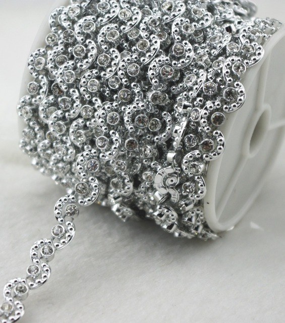 8mm Silver Moon Pearl And Rhinestone Chain Sewing Trims Cake Decoration  LZ164 752eecd63853