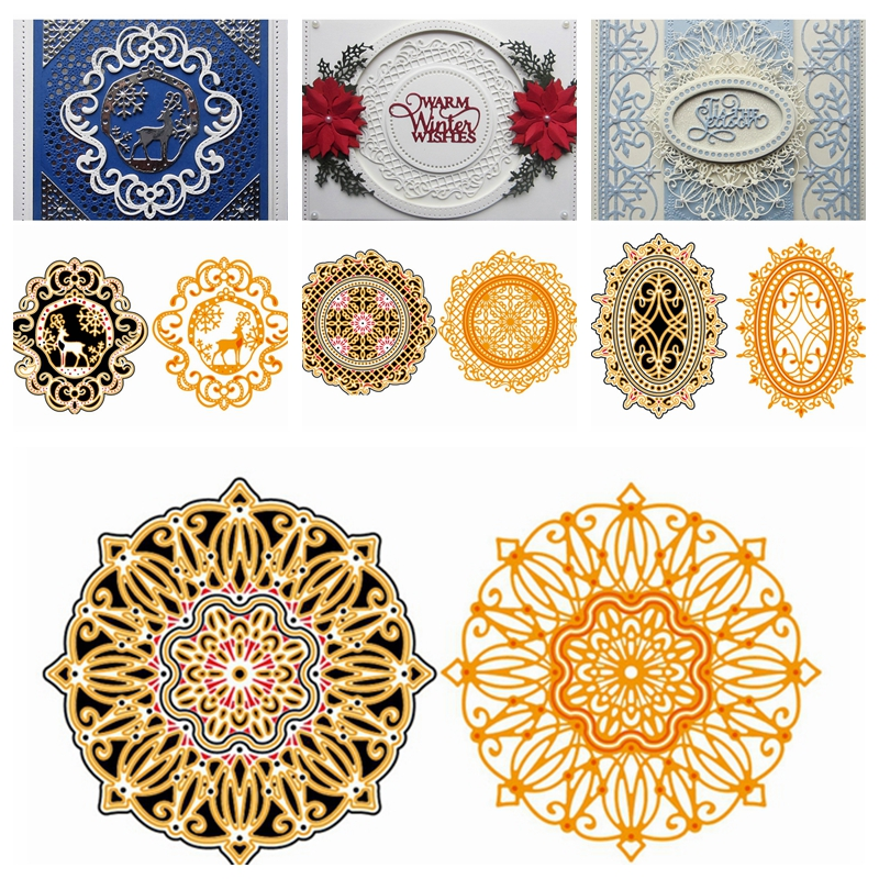 Oval Lace Frame Metal Cutting Dies Stencils For Diy Scrapbooking