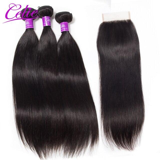 Celie Hair Peruvian Hair Bundles With Closure Human Hair Extensions