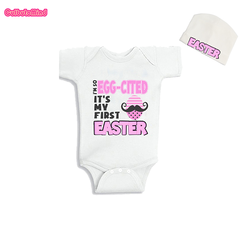 Culbutomind Im So Egg-Cited Its My First Easter Babies Infant Baby Body Suit with Cap Funny Cotton Short Sleeve Baby Jumpsuit ...