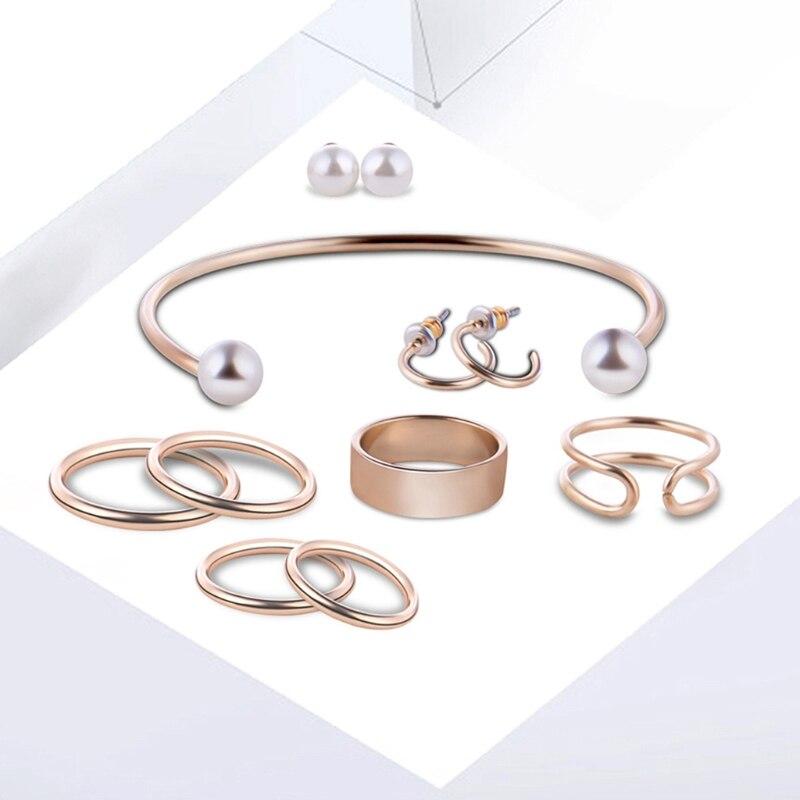 JAVRICK 9Pcs Fashion Women Gold Bracelet Knuckle Stacking Midi Ring Stud Earrings Sets