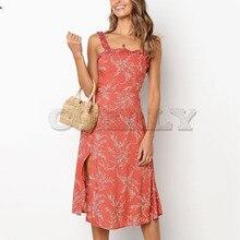 Cuerly Sexy ruffle long chiffon print dress women Elegant split strap sundress vestidos Summer boho beach casual dress female L5