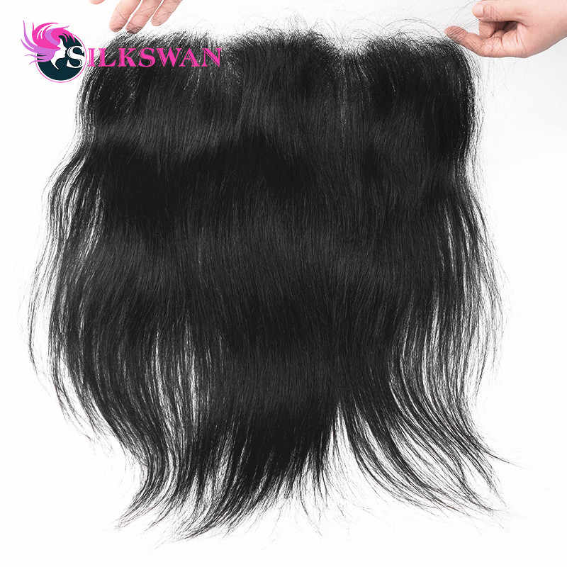 Slikswan Hair Indian Straight Hair Lace Frontal Closure 13*4 Ear To Ear Swiss Lace Remy Human Hair 8-20 Inch Free Shipping