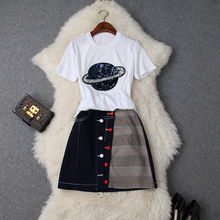 Skirt Set Women Summer 2019 New Sequined Round Neck Short Sleeved T Shirt Top + Denim Patchwork Slim Button Skirt Two Piece Sets trendy round neck hollow out t shirt button down pocket denim skirt women s twinset page 7