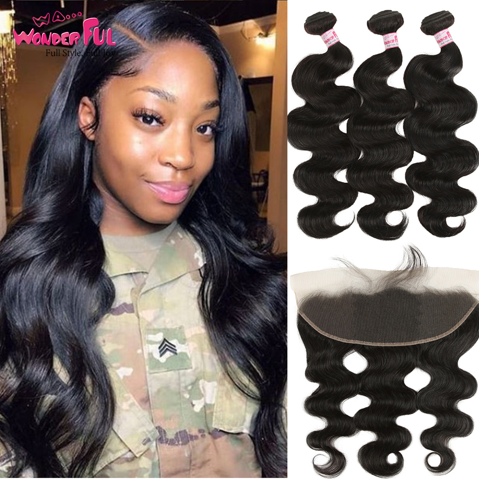 Mongolia Body Wave With Frontal 3 Bundles With Frontal 8 To 28 30 Inch Bundles With