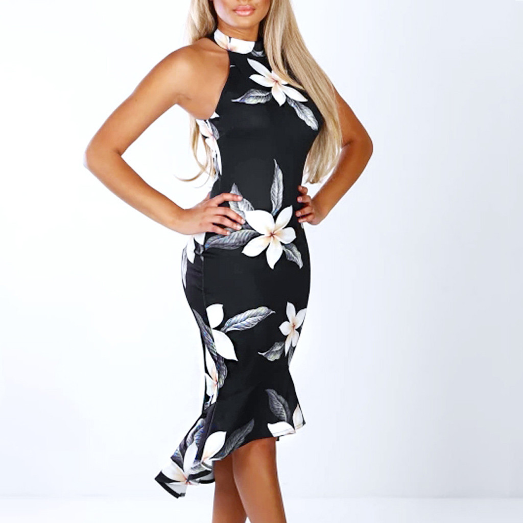 Women Off Shouder Blooming Babe Floral Dip Hem Party Bodycon Midi Dress Vestidos Mujer Casuales Midi Verano 2019