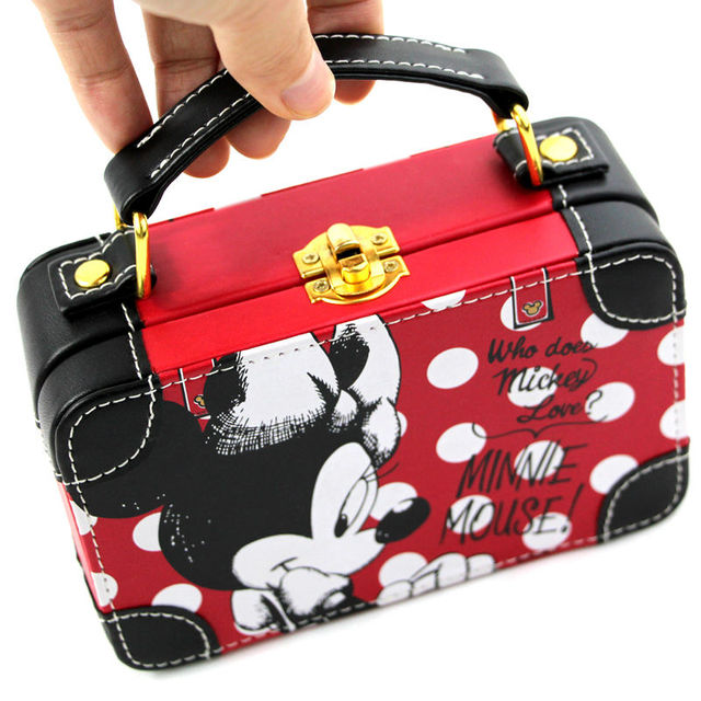 Professional Mickey Mouse Small hard case beauty leather cosmetic