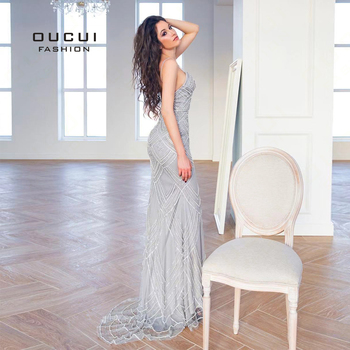 Dubai Luxury Sleeveless Mermaid Evening Gowns 2019 Newest Sexy Diamond Beading Gray Women Dresses Long Party Prom Dress OL103369 3