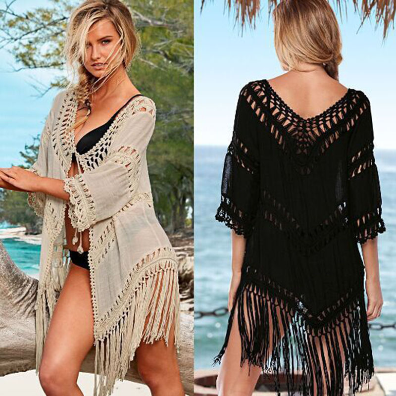 new handmade woven tassel beach cover up crochet openwork bikini swimwear women robe de plage. Black Bedroom Furniture Sets. Home Design Ideas