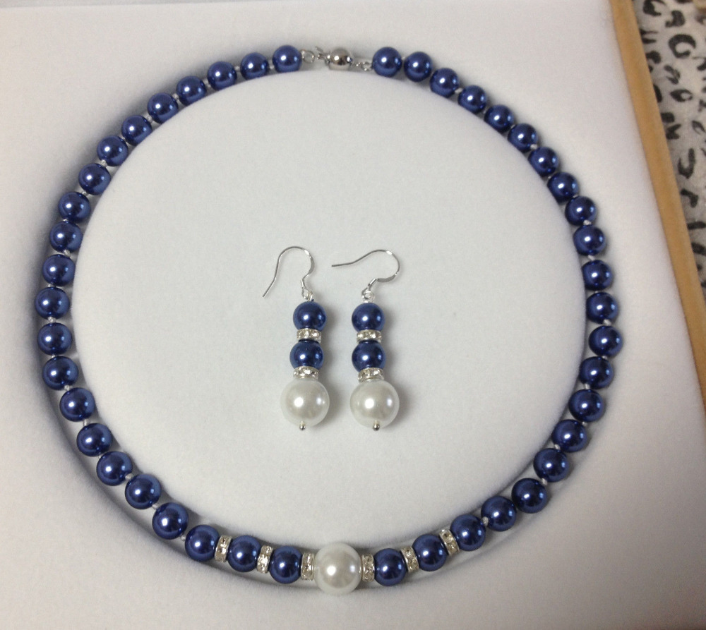 Selling Jewelry>>>8-12MM Blue/White South Sea Shell Pearl necklace earrings Jewelry set AAA Grade