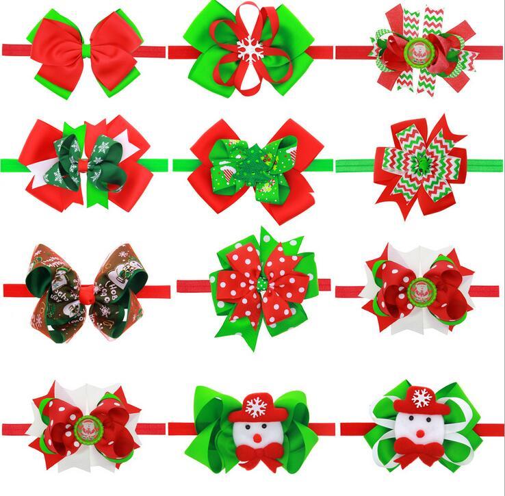 Kids Chrietmas Headband Beautiful Newborn Bow Knot Headwear Cartoon Snowman Christmas Gifts Hair Accessories SD042