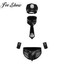 Эротический сексуальный мужской Блестящий латексный костюм для мужчин s кожа полицейский секс косплей Униформа трусы манжеты с крышкой галстук воротник костюм