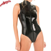 Free shipping Latex Catsuit Black Faux Leather Bodysuit Wet-Look Bodycon Punk PVC Fancy Jumpsuit Dress