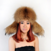 Unisex Autumn Winter New Fur Hat Of Natural Raccoon Fox Fur Bomber Hat With Earflap Male