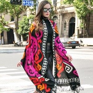 Image 5 - Bufanda de Cachemira de invierno, Bandana de lana de marca de lujo, manta a cuadros, bufanda cálida, bufanda a la moda y chal musulmán Hijab Foulard