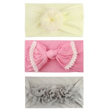 6 Styles Kids Girl Baby 3Pcs/Sets Headband Lovely Flower Tassel Bowknot Ball Headwear Hair Accessories Cute Gifts for Girls
