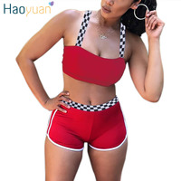 HAOYUAN Sexy Two Piece Set Summer Outfits Club Wear Crop Top And Shorts Checkerboard Short Pants
