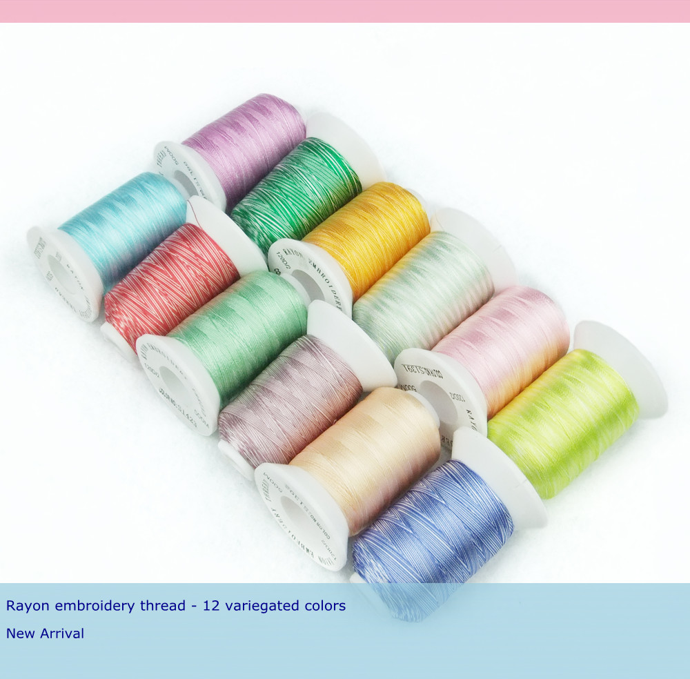 New Arrival Simthread 100% Viscose Rayon Embroidery Thread 12 popular Variegated Colors