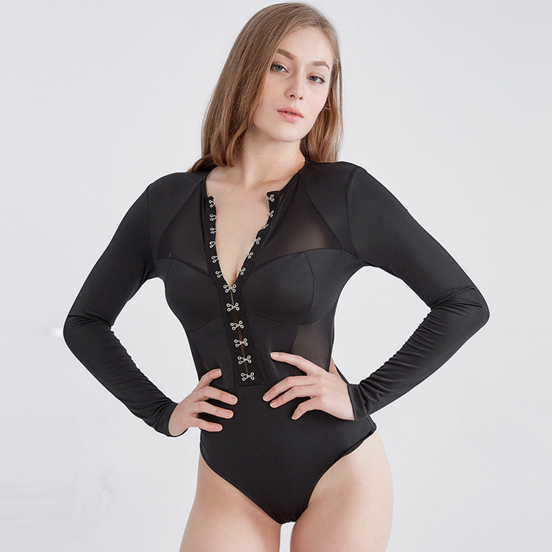 MUXU v neck Fashion Long Sleeve Woman Shorts body mesh jumpsuit Clothes sexy bodysuit black transparent rompers womens jumpsuit