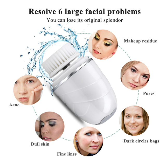 Beauty Star Rechargeable Facial Cleansing Brush Blackhead Remover Makeup Removal Face Deep Pores Cleaning Massager Face Cleaner Electric Face Cleanser