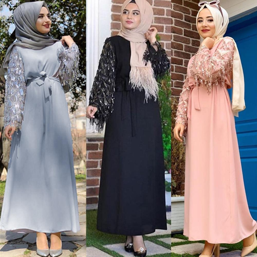 Luxury Sequins Abaya Tassels Muslim Maxi Dress Cardigan Long Robe Gowns Jubah Kimono Eid Ramadan Islamic Worship Service