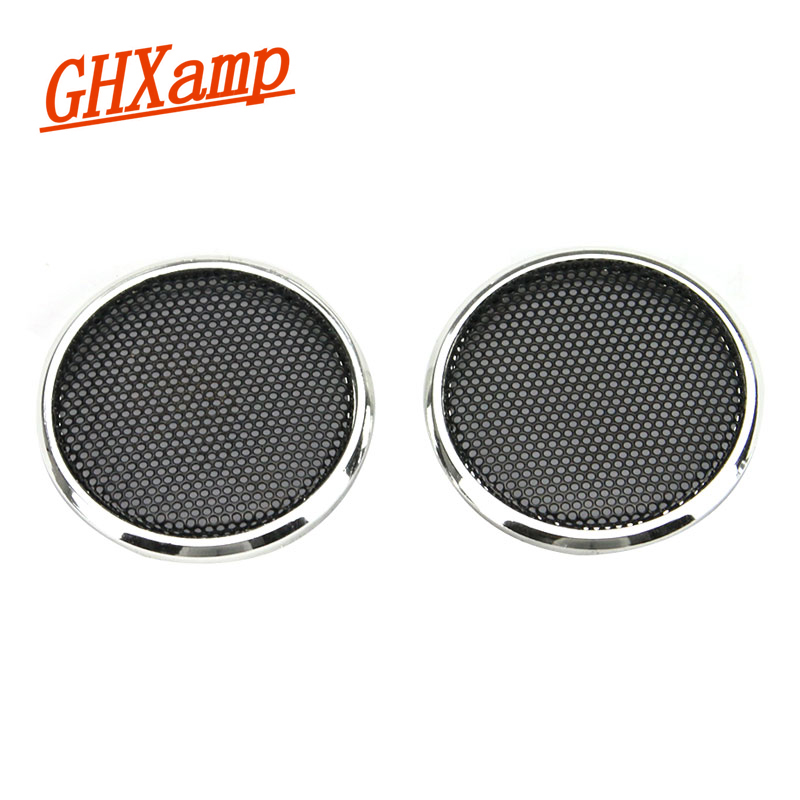 GHXAPM 2PCS 1 tommers Tweeter Speaker Grill Mesh Enclosure Netting Beskyttende Deksel DIY Elektroplisert Sølv Ring Spray Svart