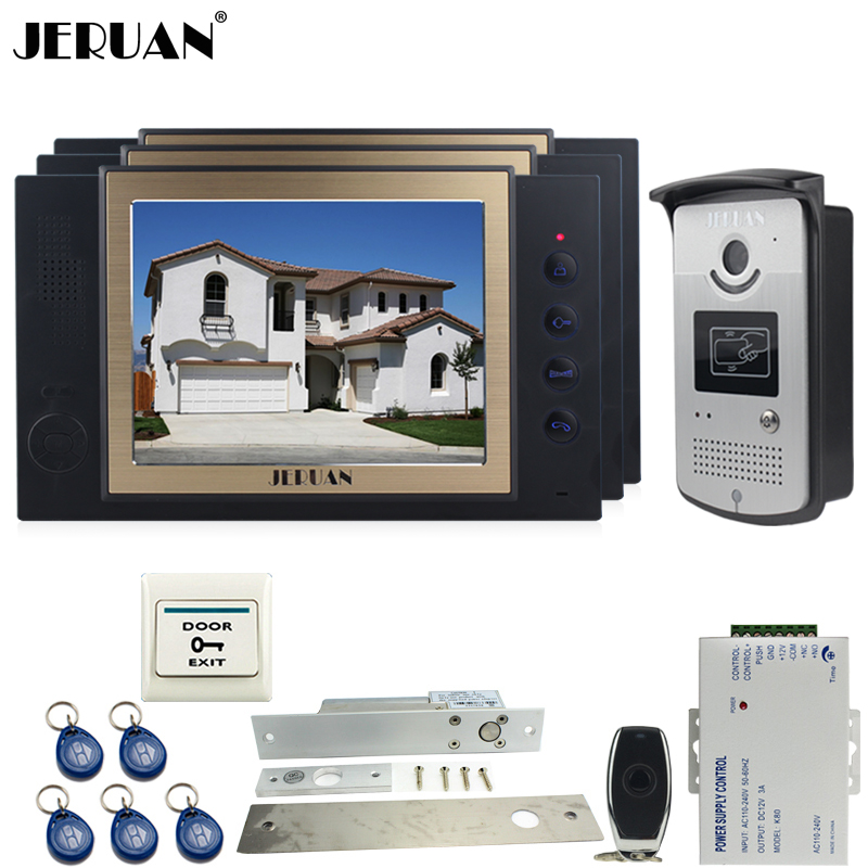 JERUAN luxury 8`` LCD Video Door Phone three 700TVT Camera access Control System+Electric Drop Bolt lock+Remote control+8GB card jeruan luxury 8 lcd video door phone three 700tvt camera access control system magnetic lock remote control 8gb card