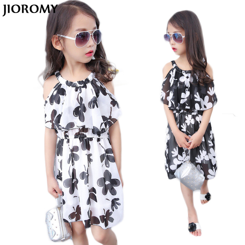JIOROMY Summer Fashion Girls Dress 2018 New Printing O-Neck Children Clothes Casual Beautiful Girl Dresses 3-13Y