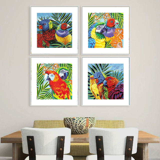 Lovely parrots clásico minimalismo chinoiserie cuadrado arte pintura ...