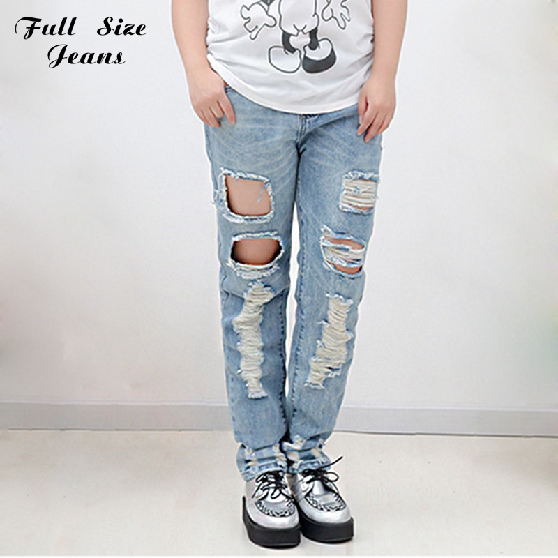 ФОТО Fashion Boyfriend Holes Ripped Jeans for Women Plus Size White Jeans American Apparel Light Blue Loose Harem Pants 4XL 6XL 40 26