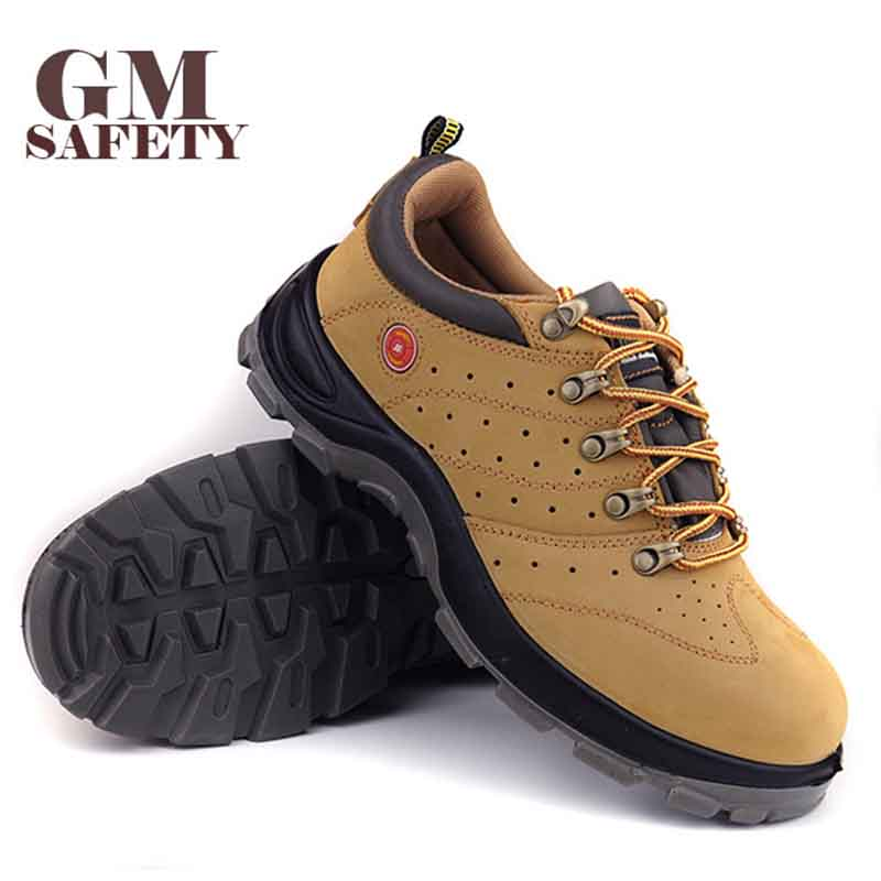 GM Insulated Safety Shoes Scrub Leather Anti smashing Breathable Protection Electrician Hiking Labor Shoes GM4000N