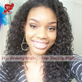 Fast Shipping Free Part Little Curl Synthetic Wigs With Baby Hair High Quality Loose Curl Glueless Lace Front Wig In Stcok
